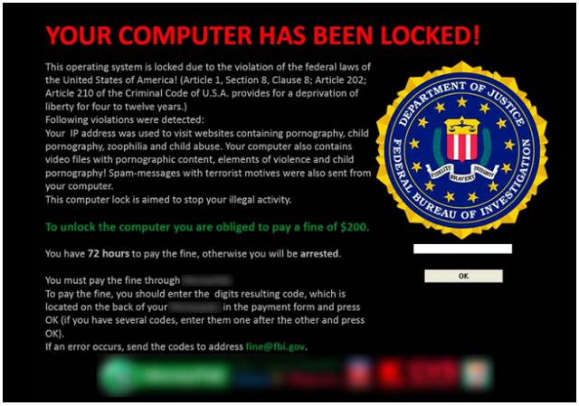 Ransomware in bazı türleri polis tarafından gönderilmiş gibi gözükür ve ödemeniz gereken fidye, ceza gibi sunulabiliyor.