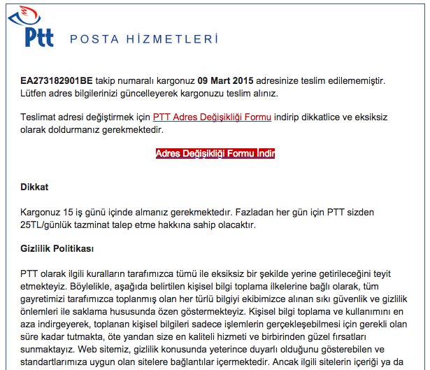 PTT Posta Mailinde CryptoLocker !