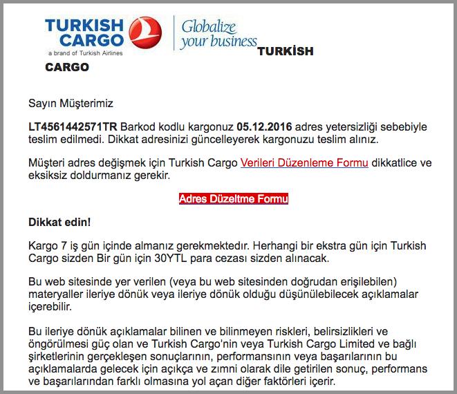 Turkish Cargo Postalarında Ransomware ( Cryptolocker )